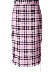 Msgm Checked Tweed Midi Skirt Pink And Purple