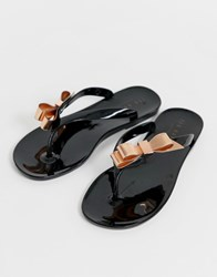 Ted Baker Black Jelly Bow Detail Flip Flops