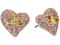 Vivienne Westwood Tiny Diamante Heart Studs Copper Gold Orb Earring
