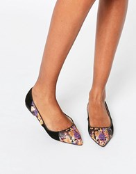 Asos Lively Patchwork Pointed Ballet Flats Black