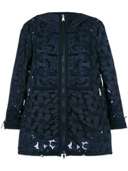 Moncler Guipure Lace Hooded Jacket Blue