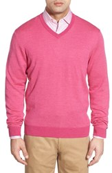 Men's Bobby Jones Merino Wool V Neck Sweater Berry