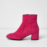 River Island Womens Bright Pink Suede Block Heel Ankle Boots