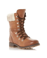 Bertie Lace Up Fur Cuff Calf Boots Brown