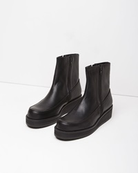 Y's Leather Wedge Boot Black