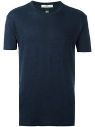 Hope Pocket T Shirt Men Linen Flax 46 Blue