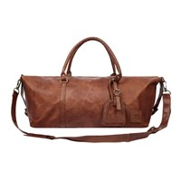 Mahi Leather Long Armada Duffle Large Weekend Overnight Holdall Bag In Vintage Brown