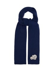 Moncler Logo Patch Wool Blend Ribbed Scarf Blue