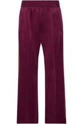 Marc Jacobs Woven Trimmed Stretch Jersey Track Pants Burgundy