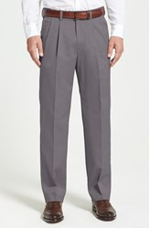 Nordstrom Men's Big And Tall Men's Shop 'Classic' Smartcare Tm Relaxed Fit Double Pleated Cotton Pants Grey Tornado