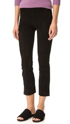 Vince Stretch Suede Split Hem Cropped Leggings Black