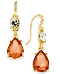 Charter Club Gold Tone Crystal Drop Earrings Created For Macy's Rose Peach