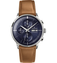 Junghans 027 4526.01 Meister Chronoscope Stainless Steel And Leather Watch Blue