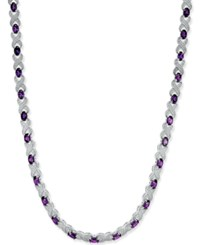 Macy's Amethyst 17 Ct. T.W. And Diamond Accent Collar Necklace In Sterling Silver