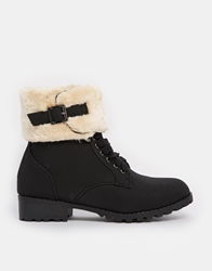 Truffle Collection Truffle Furry Lace Up Ankle Boots Black
