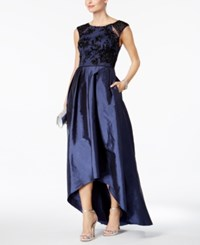 Adrianna Papell Embellished Taffeta High Low Gown Navy Black