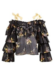 Rodarte Ruffled Floral Print Silk Blend Blouse Black Multi