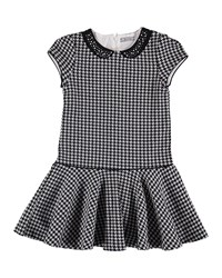 Mayoral Houndstooth Cotton Dress Size 8 16 Charcoal