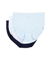 Jockey Elance Breathe Brief 3 Pack Frothy Blue Flowing Vine Just Past Midnight Women's Underwear Multi