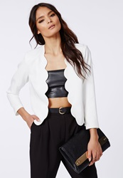 Missguided Laurie Scallop Cropped Blazer White White