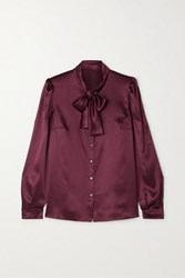Dolce And Gabbana Pussy Bow Silk Satin Blouse Plum
