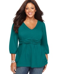 Ny Collection Plus Size Three Quarter Sleeve Ruched Empire Waist Top Fanfare