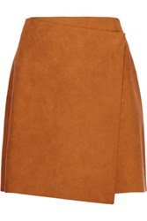 Msgm Wrap Effect Faux Suede Mini Skirt Tan