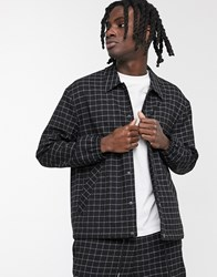Mennace Co Ord Grid Check Pocket Jacket In Black