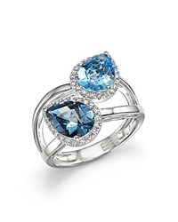 Bloomingdale's Blue Topaz And London Blue Topaz Two Stone Ring With Diamonds In 14K White Gold Blue White