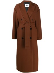 Msgm Double Breasted Virgin Wool Coat Brown
