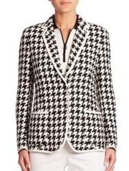 Akris Houndstooth Linen Jacket Black Moonstone