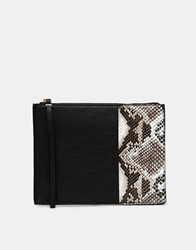 Miss Kg Toni Black And Snake Panel Oversized Clutch Multi