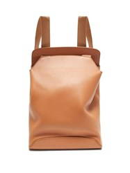The Row Moulded Leather Backpack Coral