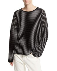 Vince Relaxed Long Sleeve Crewneck T Shirt Black White Stripes Black White
