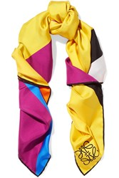 Loewe Striped Silk Twill Scarf Yellow
