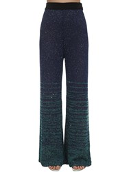 M Missoni Sequined Knit Flared Pants Blue