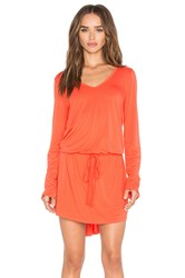 Michael Lauren Noel Long Sleeve V Neck Dress Orange