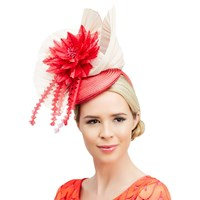 Rebecca Couture Elsa Pillbox Feather Quills Flower Occasion Hat Hot Pink Champagne