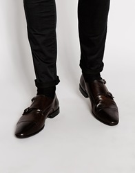 Asos Double Monk Shoes In Leather Brown