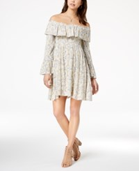 American Rag Juniors' Printed Off The Shoulder Dress Created For Macy's Oxford Tan Combo