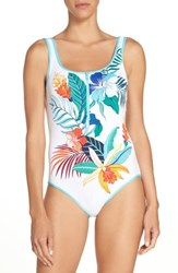 Tommy Bahama Women's Hibiscus Print One Piece Swimsuit