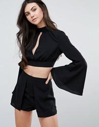 Love And Other Things Bell Sleeve Crop Top Black