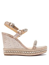 Christian Louboutin Pyradiams 110 Studded Cork Wedge Sandals Silver Gold