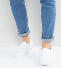 Asos Wide Fit Slip On Plimsolls In White Canvas White