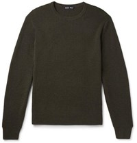 Alex Mill Waffle Knit Merino Wool And Cashmere Blend Sweater Army Green