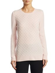 Saks Fifth Avenue Cashmere Pearl Embellished Crew Neck Sweater Light Pink Dove Heather