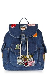 Topshop Badge Denim Backpack