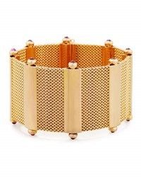 Hays Worthington 18K Rose Gold Mesh Cuff Bracelet With Ruby Cabochons