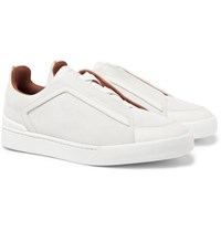 Ermenegildo Zegna Leather Trimmed Nubuck Sneakers White
