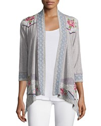 Johnny Was Sabine Embroidered Wrap Jacket Women's Navy